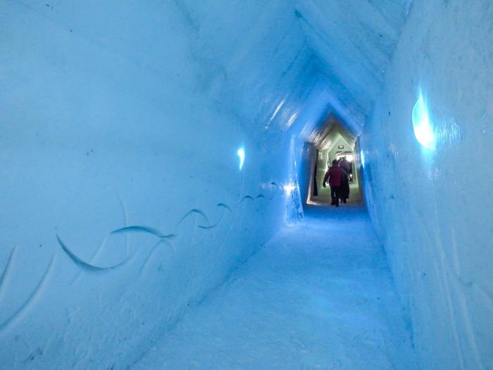 Hôtel de Glace // Straight Chillin' at Québec City's Ice Hotel   Québec City's ice hotel   Walking down the hallway