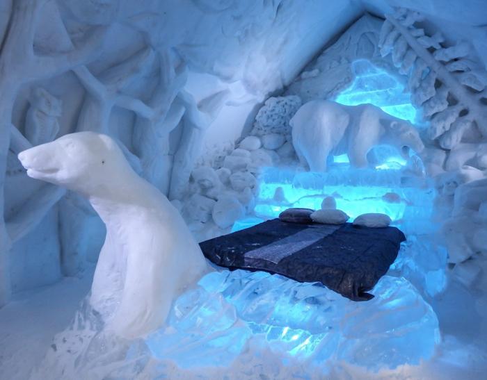 Hôtel de Glace // Straight Chillin' at Québec City's Ice Hotel   Québec City's ice hotel   ice bed   The polar bear suite