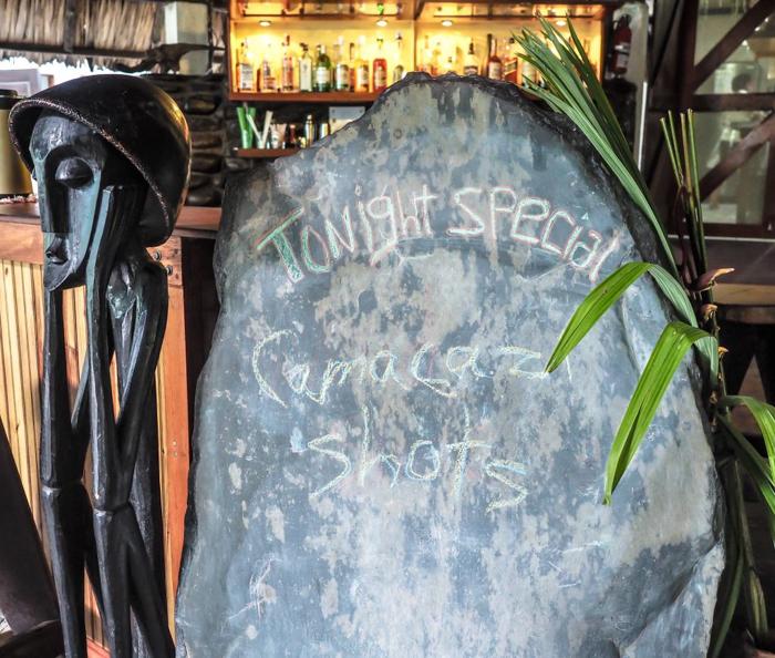 Black Rock Lodge   Belize   Sign at the bar of the Black Rock Lodge in San Ignacio, Belize