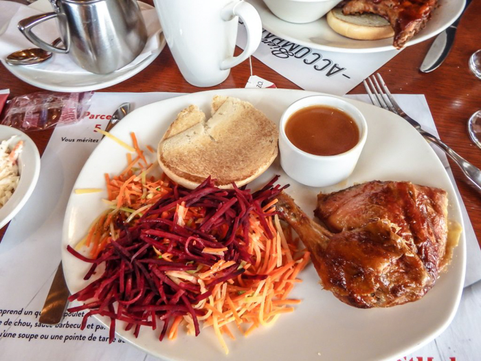 The Best Spots to Eat + Drink in Québec City | Chicken lunch at St. Hubert