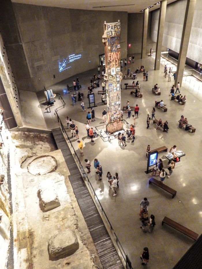 In the lobby pavilion are the Tridents that once formed part of the façade of the Twin Towers. The pavilion was actually built around them due to their size.