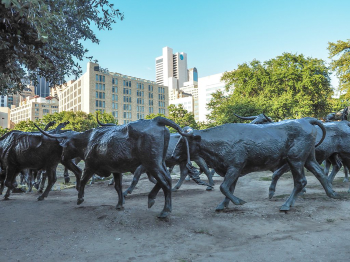 Checking out Pioneer Plaza in Dallas, Texas
