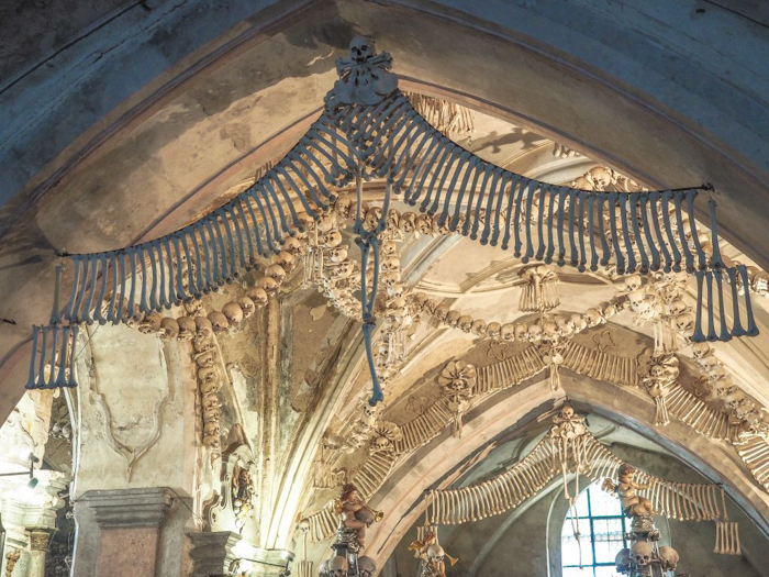 Bones decorating the interior of the Sedlec Ossuary in Kutná Hora, Czech Republic--just one hour from Prague