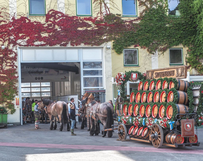 Oktoberfest Spaten horses and carriage at the Spaten brewery in Munich, Germany