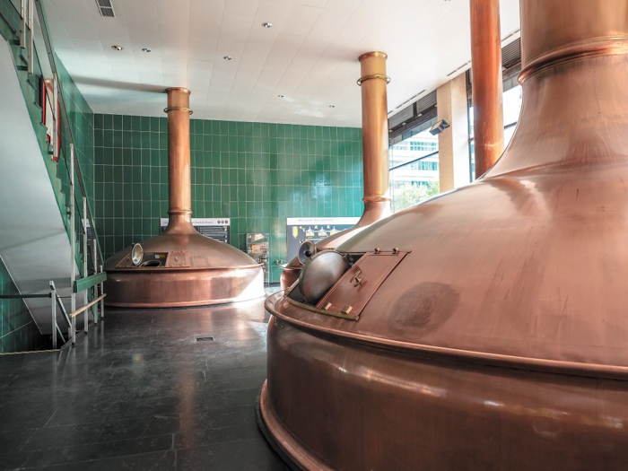 Brew kettles at the Spaten Brewery in Munich, Germany