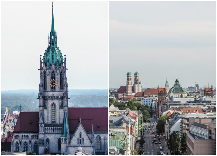The view of Munich, Germany from the top of the Spaten Brewery