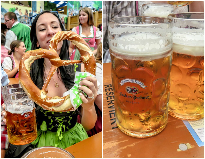 My Wanderlusty Oktoberfest Recap | What it's like at Oktoberfest in Munich, Germany | What it's like to travel to Oktoberfest with Thirsty Swagman | Oktoberfest beer tents | Oktoberfest food and beer | What to wear to Oktoberfest | Oktoberfirsts | Hacker-Pschorr Festzelt | Hacker-Pschorr Tent