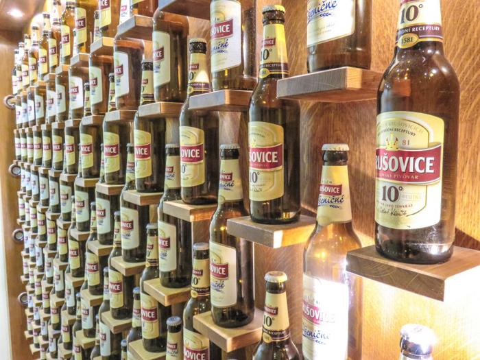 Krusovice bottles on display at the Prague beer spa