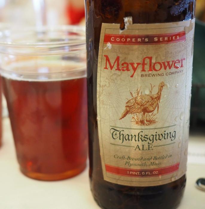 Mayflower beer at Plimoth Plantation Thanksgiving Dinner in Plymouth, Massachusetts -- just outside Boston