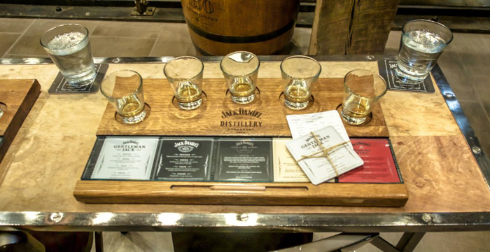 Flight of Jack Daniel's Distillery tour in Lynchburg, Tennessee | Tennessee Whiskey | perfect day trip from Nashville | Southern lunch at Miss Mary Bobo's Boarding House | Jack Daniel's Honey | Jack Daniel's Fire | Gentlemen Jack | Jack Daniel's Single Barrel Select | Old no. 7