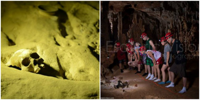 Skull and tour group in the ATM Cave in Belize | Map | San Ignacio, Belize | Cayo District | Tapir Mountain Nature Reserve | Actun Tunichil Muknal | Maya | Mayan archaeological site | skeletal remains | Cave of the Sone Sepulcher | Pacz Tours