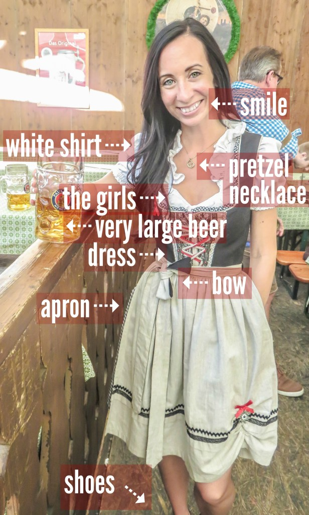 Anatomy of a dirndl at Oktoberfest in Munich, Germany | How to Dress for Oktoberfest | what to wear | Munich, Germany | dirndl | lederhosen | trachten | beer festival | tents | costume |