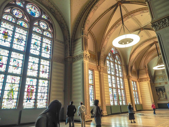 Grand Hall interior of the Rijksmuseum | 3 days in Amsterdam, Netherlands | stained glass windows