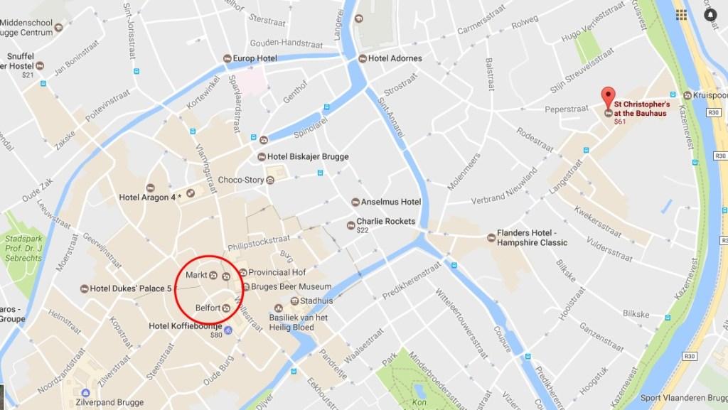Map | St. Christopher's Inn Bruges | Bauhaus | Hostel | Bruges, Belgium