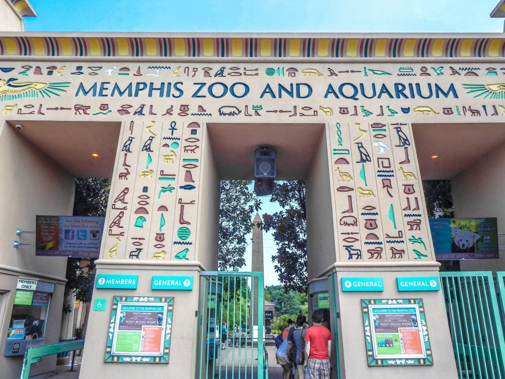 Memphis, Tennessee is weird. Egyptian facade of the Memphis Zoo - designed after the Great Temple of Ptah in Memphis, Egypt