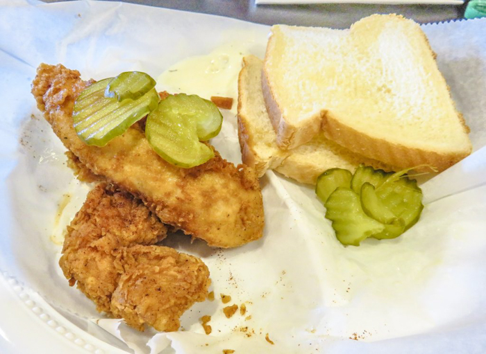 An exploration of Nashville Hot Chicken   Bolton's Spicy Chicken and Fish   Nashville, Tennessee   chicken and waffles, chicken tenders, spicy fried chicken   Southern cuisine   Soul food   light mild tenders