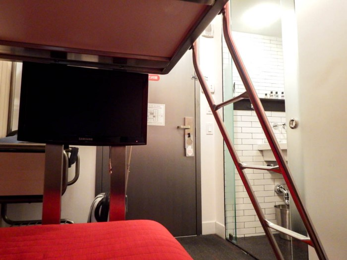 view from the bottom bunk of a tiny room
