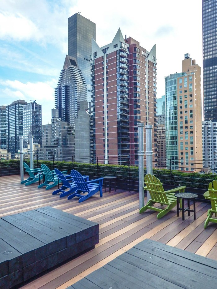 Views of the New York City skyline from a rooftop