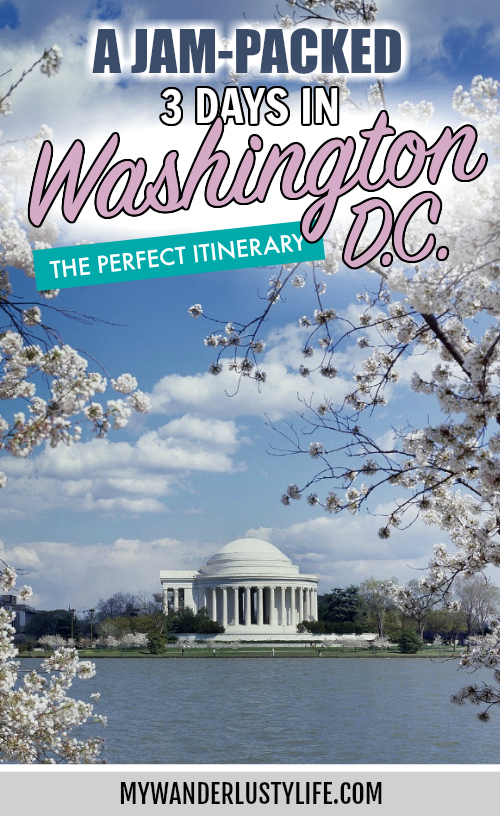jam-packed Washington DC itinerary pin