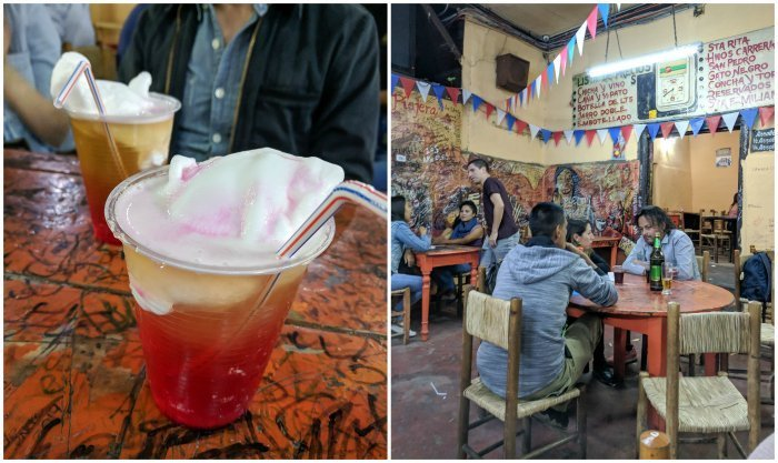 How to Spend One Week in Chile and Cover All the Bases | Trying the signature Terremoto drink at the famous La Piojera dive bar #chile #whattodoinchile #weekinchile #lapiojera #terremoto