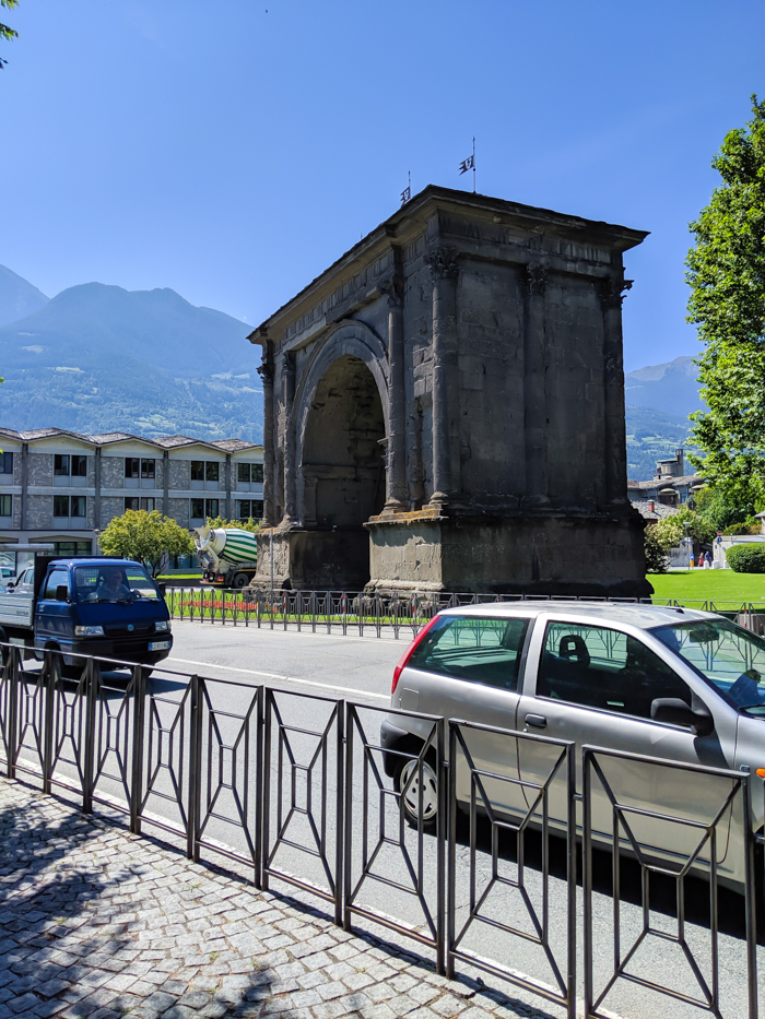 Arch of Augustus | How to Spend 1 Day in Aosta, Italy // The Capital of the Aosta Valley | Things to see in Aosta, Things to do in Aosta, Where to eat in Aosta, the smallest of Italy's 20 regions #aosta #italy #aostavalley #traveltips #timebudgettravel #romanruins #ancient #ruins