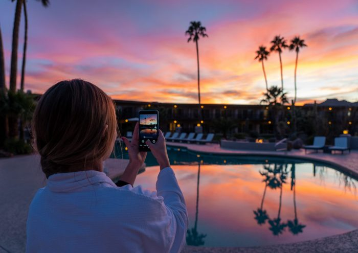 Watching the sunset at Civana Wellness Resort and Spa | Where to Stay in Scottsdale, Arizona for two very different experiences | #civana #spa #scottsdale #arizona #wheretostay #sunset