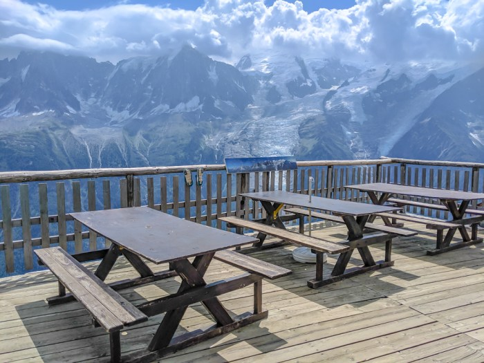 Best hikes in Chamonix: Plan de l'Aiguille to Mer de Glace and Montenvers on the Grand Balcon Nord / best day hikes in Chamonix / Mer de glace glacier, hiking in chamonix / patio at Refuge Bellachat