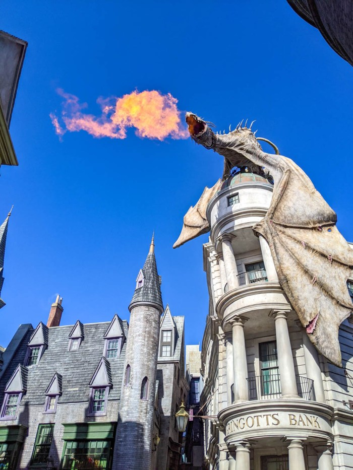 dragon breathing fire at the Wizarding World of Harry Potter