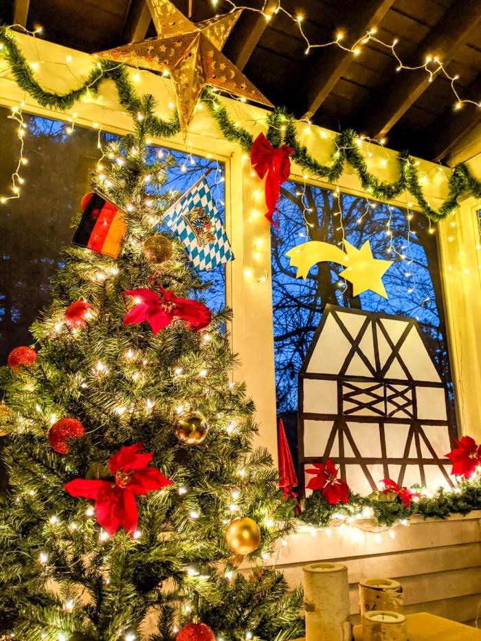Christmas tree and lots of lights and decor