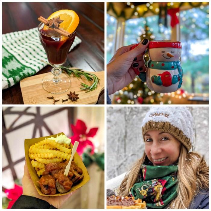 christmas collage of gluhwein, cute mugs, currywurst, krampus scarf