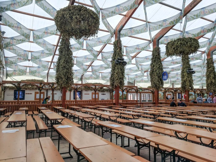 Empty Hofbräu tent | Will Oktoberfest 2021 take place? Is Oktoberfest 2021 going to be canceled? All the info you need to know like what to do, how to plan ahead, official announcements out of Munich, Germany