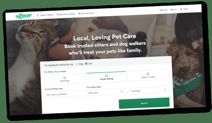 screenshot of Rover.com for hiring pet sitters