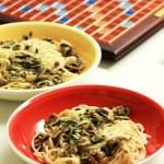 Spaghetti with mushroom salad; mushroom pasta recipe