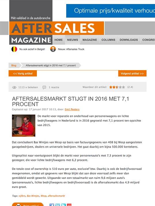 After Sales Magazine - After Sales Markt Stijgt artikel