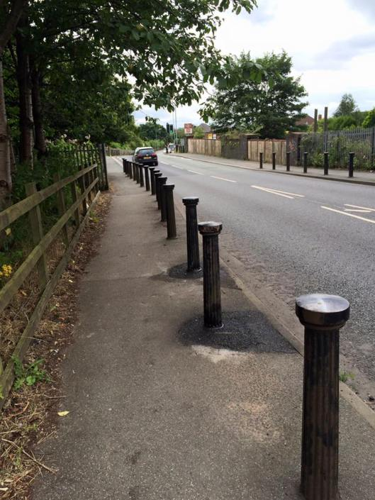 Bollards on Leigh Road have been replaced after being demolished
