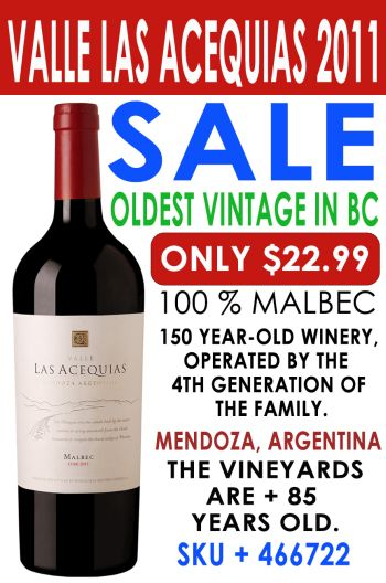 Buy Valle Las Acequias Malbec from 85 year old vines