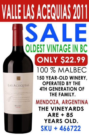 Buy Valle Las Acequias Malbec 2011 from Argentina