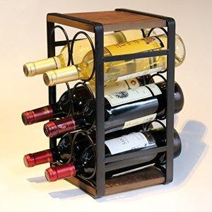 Soduku Metal & Wood Countertop Wine Rack 6 Bottles No Need Assembly