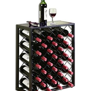 Mango Steam Wine Rack with Glass Table Top, Black