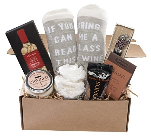 wine lovers perfect gift basket box with bring me some wine socks