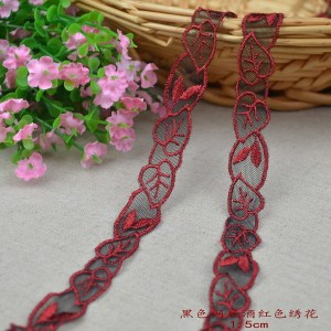 1/meter black Wangde wine red embroidery [4cx037] 1.5cm wide