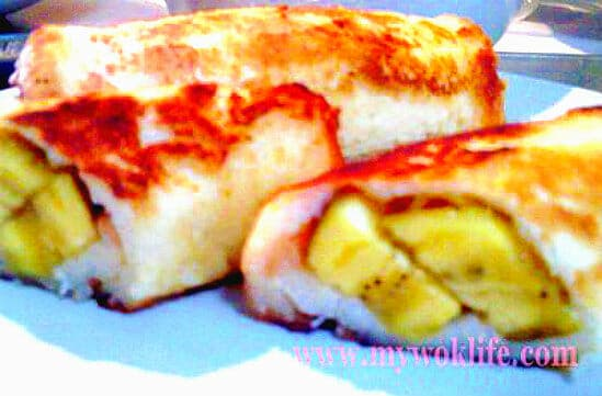 Vanilla Flavoured Fried Banana Bread Roll