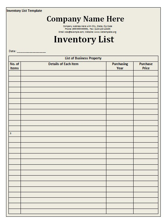 You want something that you can depend on, from a company that has good customer service, should you ever need it. Inventory List Template Free Word Templates
