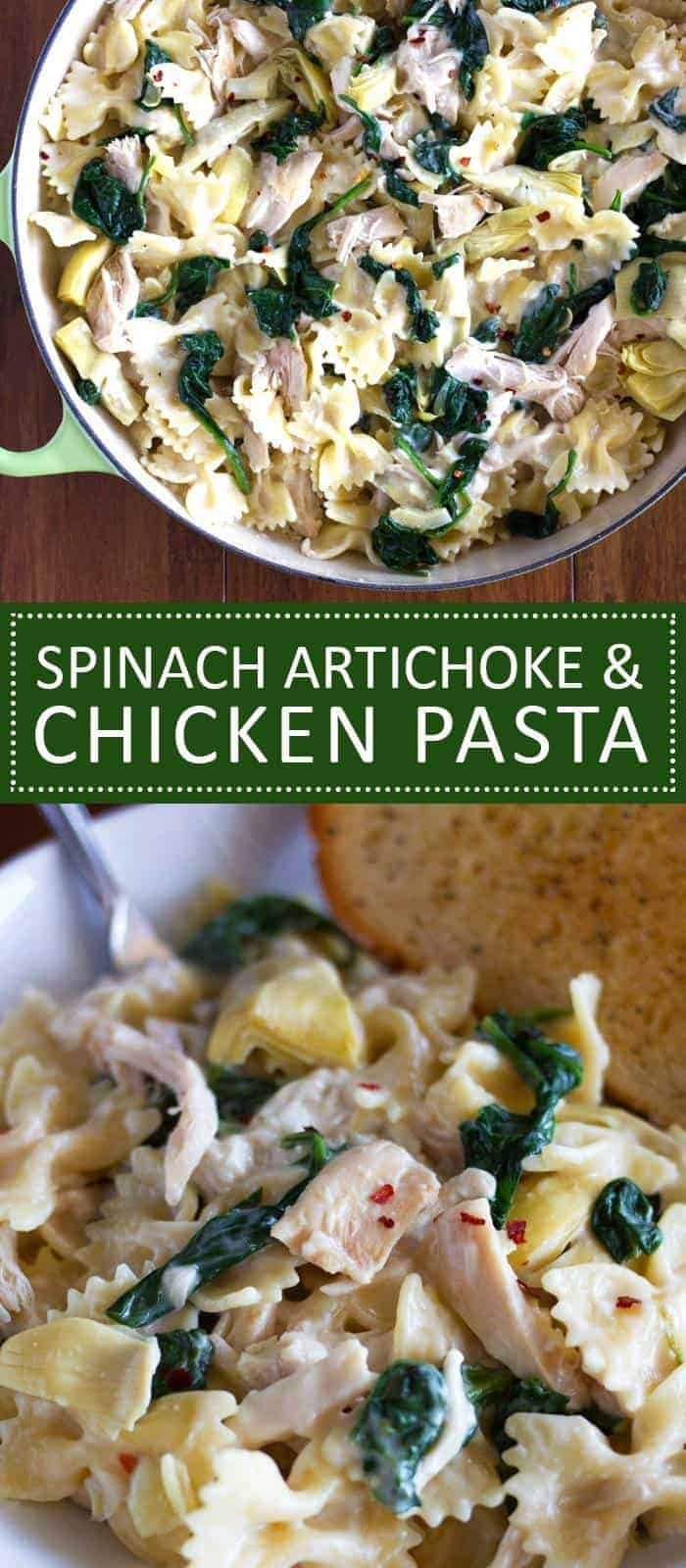 This quick and easy Spinach Artichoke Chicken Pasta is so creamy and delicious!
