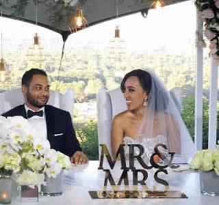 Sarah Langa and Jehan Mackay White Wedding