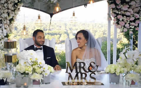 Sarah Langa and Jehan Mackay White Wedding