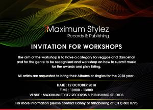 Maximum Stylez Invitation for Workshop @ Maximum Stylez Studios