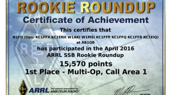 N1FD Certificate from the 2016 ARRL Rookie Roundup SSB