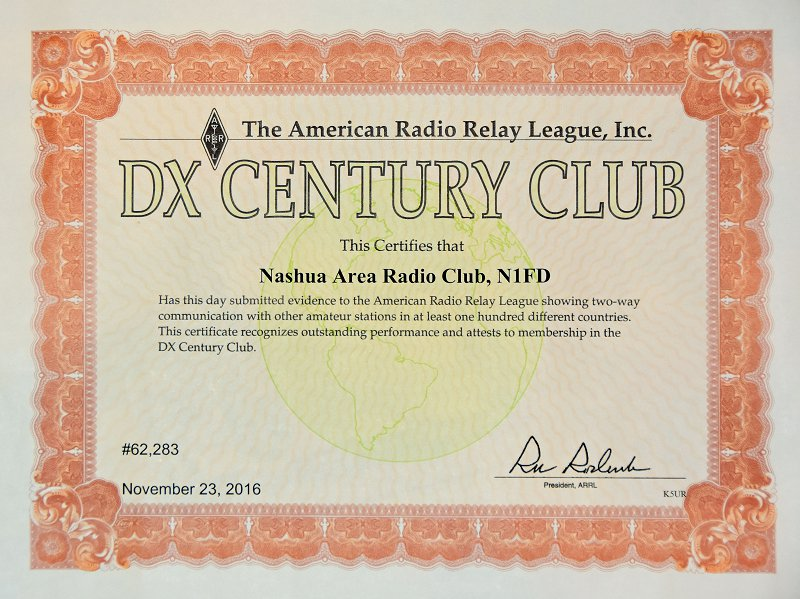Operating Awards - Nashua Area Radio Club DXCC Award
