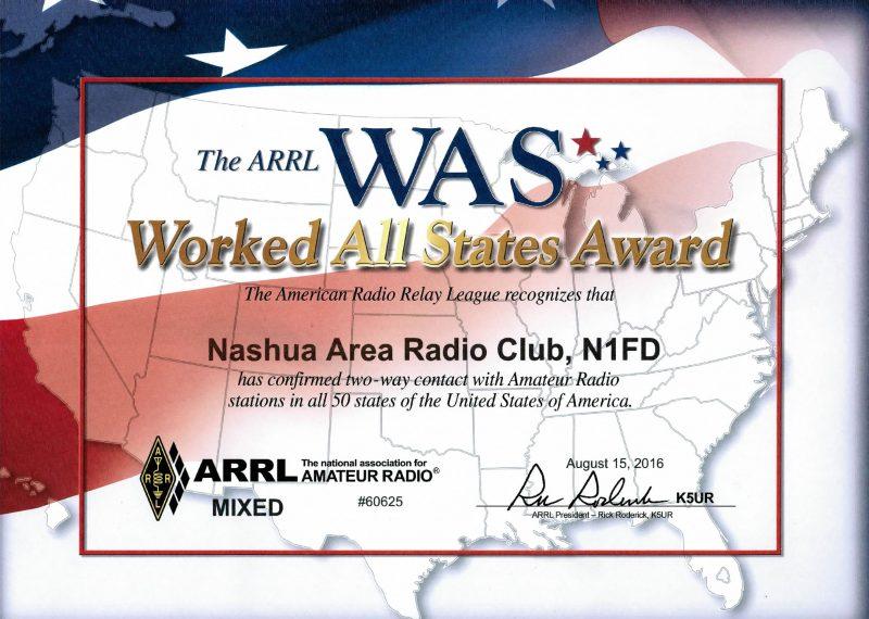 Operating Awards - Nashua Area Radio Club Worked All States Award